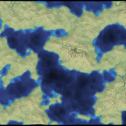 Land masses produced with noise functions