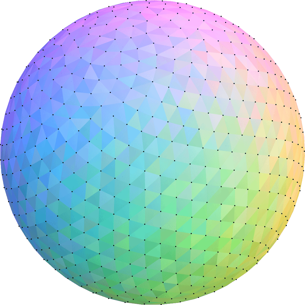 Delaunay+Voronoi on a sphere