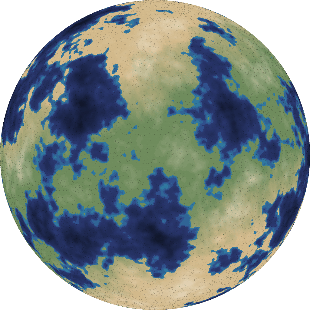 Procedural map generation on a sphere