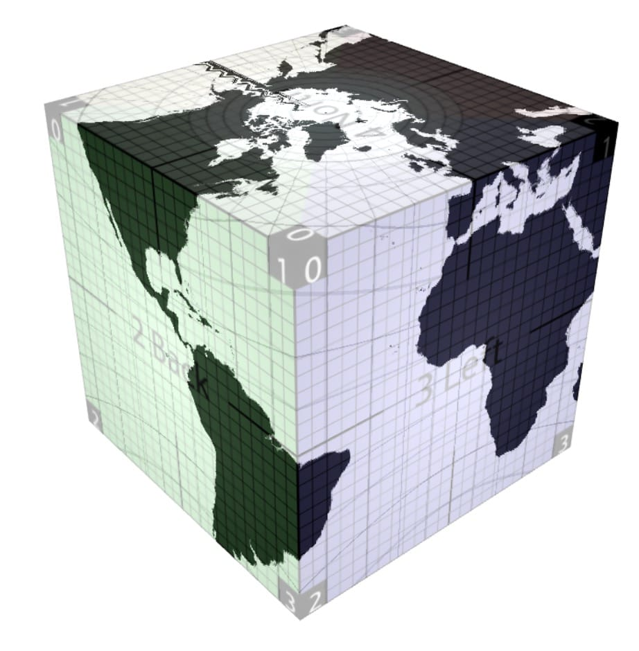 Diagram showing the Earth mapped onto a cube